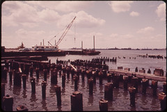 Rotting Pier Timbers in the Hudson River near the World Trade Center, in Westside Lower Manhattan 05/1973 (The U.S. National Archives) Tags: newyorkcity pier manhattan worldtradecenter wtc pilings piling batteryparkcity lowermanhattan environmentalprotectionagency documerica usnationalarchives nara:arcid=549305