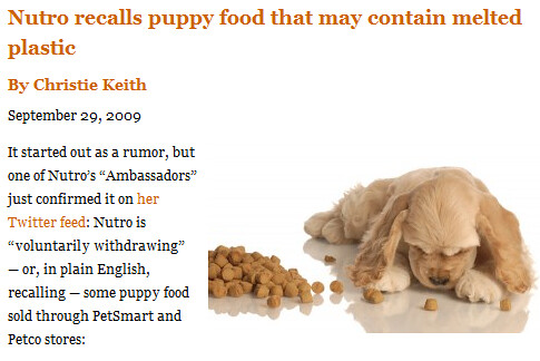 NUTRO PUPPY FOOD RECALL (see below for details)