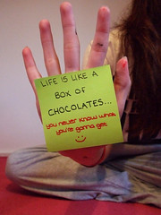 Life is like a box of chocolates... (JemmaJusticePhotography.) Tags: life camera art forest writing hair photography is justice hand post box quote like chocolates it boring finepix gump fujifilm jemma jemmysaur jemmaammej