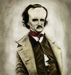 Edgar Allan Poe (Mark Hammermeister) Tags: texture mystery illustration digital photoshop painting humor digitalpainting horror caricature writer author edgarallenpoe theraven augustedupin