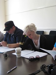 Glenn and Hannah intently studying the script
