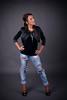 Miss G: Torn blue jeans (Rune T) Tags: portrait girl fashion pose studio grey model shoot background jeans attitude jacket torn 3lights