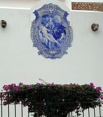 azulejo (debreczeniemoke) Tags: portugal church ceramic painted azulejo atlanticocean tilework portosanto tinglazed oceanoatlantico vilabaleira