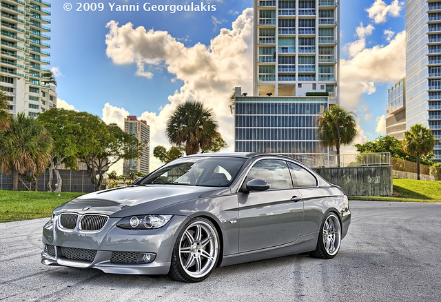 car grey nikon inch downtown photoshoot miami corse space gray bmw rims 2008 19 coupe d3 linea modded coilovers 3series yanni dyna 19s 335 2470 e92 335i georgoulakis