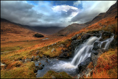 Falls - Glen Moidart (angus clyne) Tags: road autumn red white mountain storm fall water grass rain clouds river scotland waterfall highlands bravo rocks stream path hill straw glen burn waterfalls brook loch moor ardnamurchan flikcr lochan moidart glenmoidart