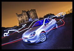 The Puma and The Castle (Light Painted Cornwall) Tags: light sky lightpainting castle history ford pool car tristan night clouds painting four star restaurant evening automobile long exposure paint cornwall time painted trails automotive sabre saber granite historical 17 lightsaber puma coupe brea lanes redruth lightsabre barratt lightpaint camborne carn lightpainted carnkie