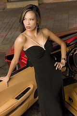 Angel and her F430 (daronshade) Tags: woman beauty ferrari blackdress