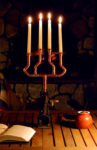 Copper pipe candelabra