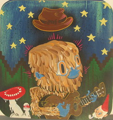 yetti (Tripper Dungan) Tags: art mushroom oregon painting portland star fly 3d missing artist guitar pipe tripper link 8bit bigfoot sasquatch chromadepth yetti fadora knome aminita dungan agrylic