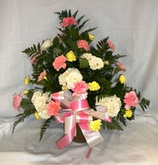 SA009  Sympathy Arrangement: Symmetrical Pink and Yellow Carnations and Roses