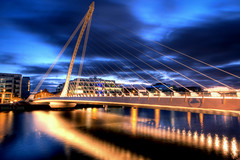 Samuel Beckett Bridge (Mick h 51) Tags: longexposure bridge blue ireland santiago sky dublin reflection architecture clouds canon eos lights dock dusk sigma rope liffey calatrava docklands spencer harp beckett 1020 samuel leinster samuelbeckett 450d