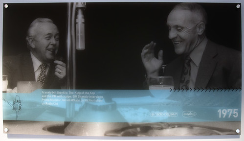 Harold Wilson and Bill Shankly photograph on the Radio City Wall, Liverpool