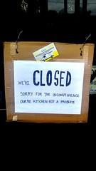 0220171350c_HDR (mercycube) Tags: sign grammar apostrophe fail closed echopark kitchen