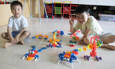 Boys with their Knex Creations