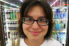 6-29-09 (29/365) (KiraInJapan) Tags: girl smile face glasses drink photoaday youngwoman conveniencestore jesie