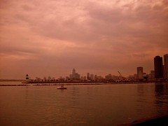 red sky in the morning... (lepetitsaboteur) Tags: chicago boat downtown lakemichigan