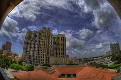 Timelapse Tuesday - HDR timelapse - Looking South in West Palm Beach (Photomike07 / MDSimages.com) Tags: world travel sky urban usa digital america skyscraper photography blog timelapse video media unitedstates florida south perspective july westpalmbeach east fisheye processing northamerica southeast palmbeach 2009 hdr westpalm movingclouds timelaps hdrtimelapse michaelsteighner mdsimages hyliteproductions westpalmbeachcondo twocityplace photomike07 mdsimagescom hylitecom