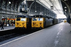 Class 50s 50007 50022 Paddington 7/4/80 (Stapleton Road) Tags: paddington anson hercules 50022 class50 50007