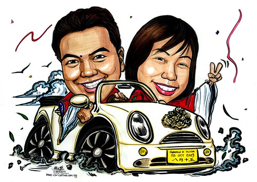 wedding couple caricatures on Mini Cooper convertible A3