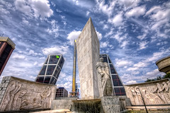 Plaza de Castilla, Madrid HDR (marcp_dmoz) Tags: madrid plaza sky espaa tower monument clouds photoshop canon de eos canal spain puerta europa torre map monumento himmel wolken caja