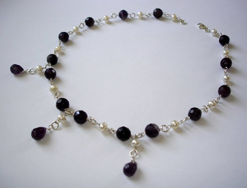 FASCINATING AMETHYST DROPS LOVE NECKLACE in sterling silver for weddings