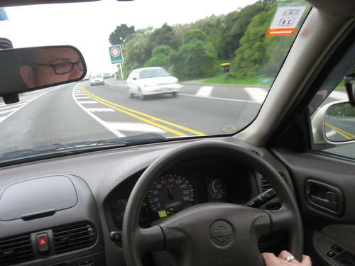 Jason driving on the left