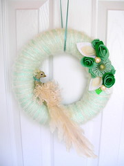 Cream de Menthe Yarn Wreath (KnockKnocking) Tags: door winter woman snow color green bird rose glitter lady soft pretty frost handmade unique pastel cottage decoration feathers cream mint peacock yarn wreath ornament round ribbon elegant satin simple seafoam wintergreen plumage shabby yarnwreath knockknocking agnesblum