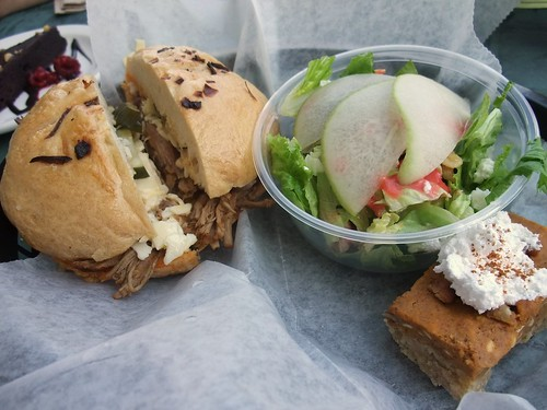 Pulled Pork Sandwich, Mesclun Mix and Pumpkin Pie Bar from Katzinger's.