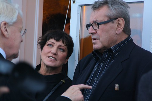 President of Iceland makes point to Milos Forman