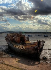 After the Storm - Grays shipwreck, Thurrock [Explored] (ryme-intrinseca, Facebook - BeckyStaresPhotography) Tags: wood abandoned beach water thames clouds river boat high rust ship dynamic decay spooky shipwreck disused rotten wreck range derelict hdr banks grays thurrock photomatix atmoshpheric