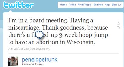 Penelope Trunk Tweet on Miscarriage