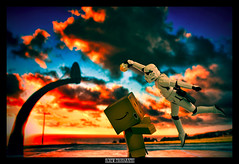 CupCake Dunk Final - Danbo Vs Trooper (achew *Bokehmon*) Tags: blue sunset orange storm trooper basketball clouds starwars slam sony cupcake pk alpha tamron dunk danbo sp90 a850 danboard