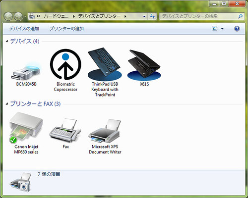 Windows 7 Devices and Printers: ThinkPad X6x icon