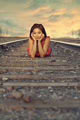 Maria (Selaphoto) Tags: wood railroad pink blue senior girl clouds canon rebel traintracks rails teenager xs tones gravel seniorphotos softtones
