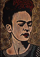 Frida Kahlo (Lisa Brawn) Tags: portrait artist popart fridakahlo kahlo woodcut