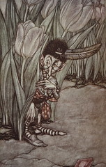 When he heard Peter's voice he popped in alarm behind a tulip (noriko.stardust) Tags: old art gardens illustration painting book published drawing antique illustrations craft peterpan fairy romantic kensington 1910 tale jmbarrie arthurrackham hoddarstoughton