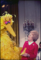 Mrs. Nixon meeting with Big Bird from Sesame S...