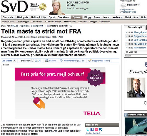 Article by me in Svenska Dagbladet