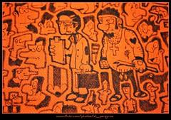 Il recupero crediti (El Peregrino) Tags: orange disegno arancione telo recuperocrediti