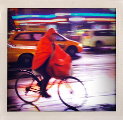 """The Deliverer Got Rained Upon"" (Sion Fullana) Tags: urban newyork blur reflection rain bike bicycle night square lluvia action streetphotography squareformat timessqaure nightshots panning allrightsreserved newyorkers iphone deliveryguy creativeblur 500x500 urbanshots fakepolaroids creativeshots urbannewyork redraincoat colorsintherain iphoneshots iphoneography bikereflected iphoneographer sionfullana shakeitapp thedeliverergotrainedupon throughthelensofaniphone"