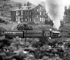 KWVR Keighley West Yorkshire 14th July 1977 (loose_grip_99) Tags: railroad england train blackwhite yorkshire railway trains steam 1977 railways westyorkshire lms keighley kwvr britishrailways stanier black5 uksteam 45212 gassteam