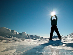 Leelantartica ... Star Catcher (Ken Scott) Tags: 2003 winter people usa selfportrait ice silhouette march michigan lakemichigan greatlakes sunburst selfie leelanau kenscott nearthe45thparallel leelantarctica kenscottphotography kenscottphotographycom