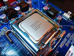 Intel E5200 #1 (lungstruck) Tags: color nerd computer hardware pc geek intel component dual cpu motherboard core processor pentium capacitors e5200