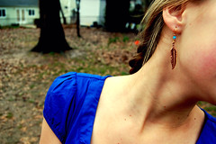 (maddiemcgill) Tags: blue winter cold leaves neck outside cheek dress skin feather peach ear rosy earing