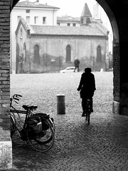 Bicycles #14 (Biagio De Giovanni) Tags: street bw bicycle 50mm olympus bicycles e300 olympuse300 ferrara bycicle fourthird cityofbicycles