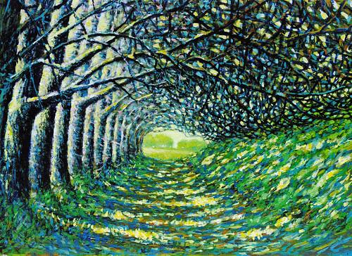 フリー写真素材, 芸術・アート, 絵画・版画, 風景(絵画), 樹木, 道, グリーン,