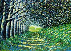 [フリー画像] 芸術・アート, 絵画・版画, 風景(絵画), 樹木, 道, グリーン, 201105161300