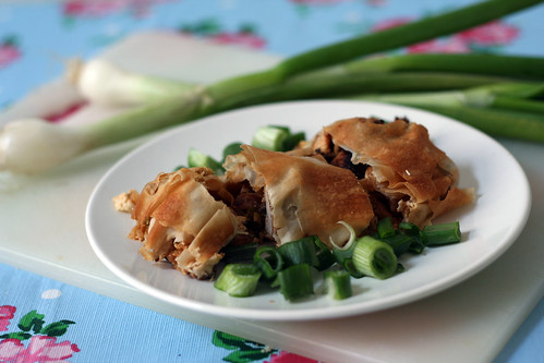 frühlingszwiebel-strudel mit hähnchen & feta