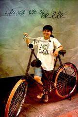 La Vie Est Si Belle (zahrawrrrr) Tags: old girl smile bicycle la photo edited si manipulation belle est vie