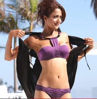 Amrita Arora wearing bikini on a hot day on the beach